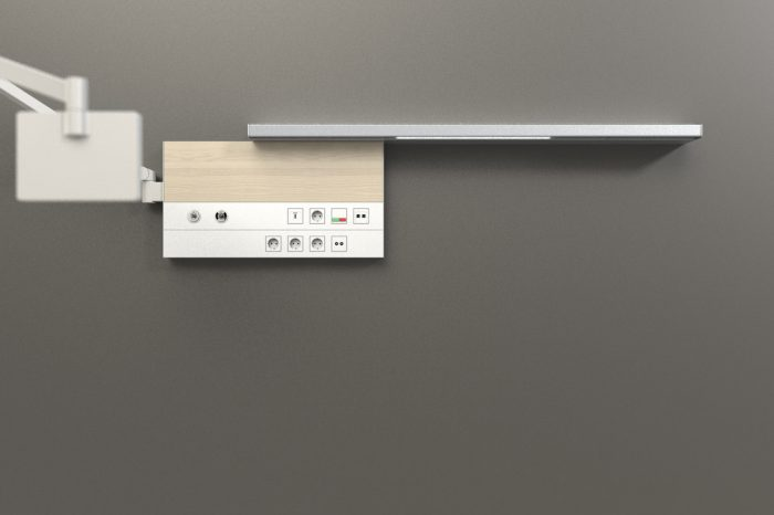 Wall brackets for multimedia arms can be integrated behind the wooden panel to retain the aesthetic design.